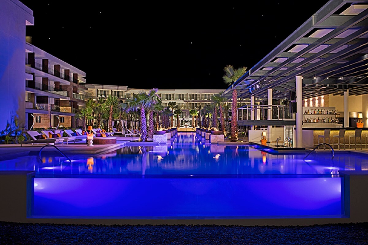 purple lighted pool party