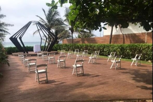 social distancing chair layout for destination wedding ceremony