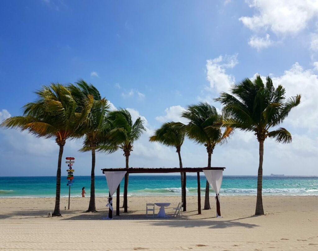 beach wedding pergola with palm trees on white sandy beach