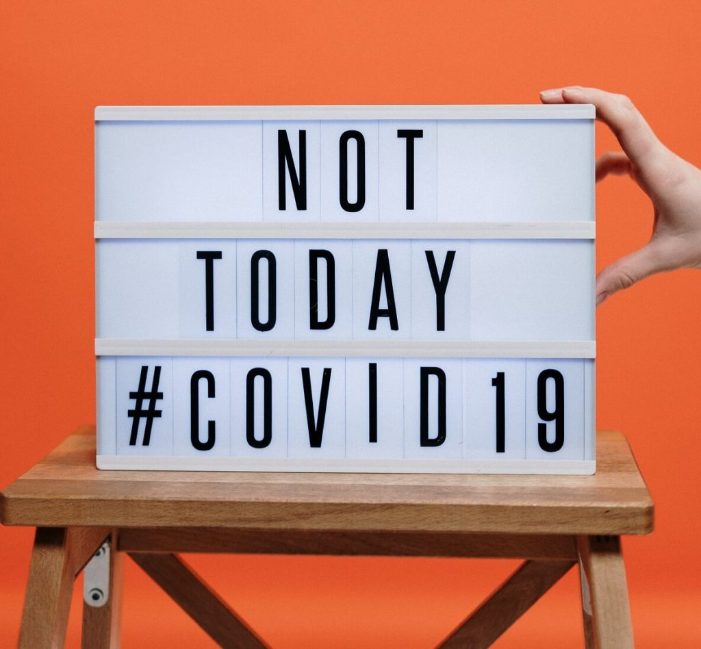 not today covid 19 sign on wooden stool