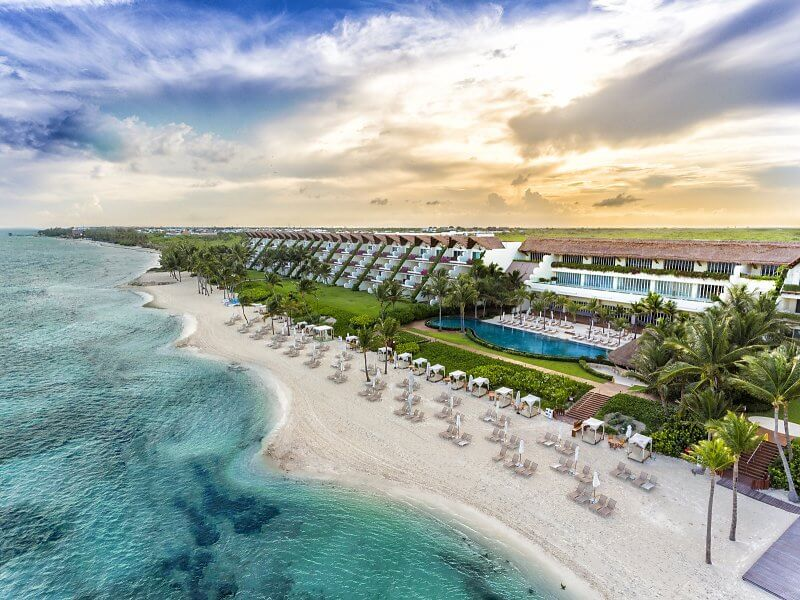 aerial view of the grand velas all-inclusive honeymoon resort riviera maya