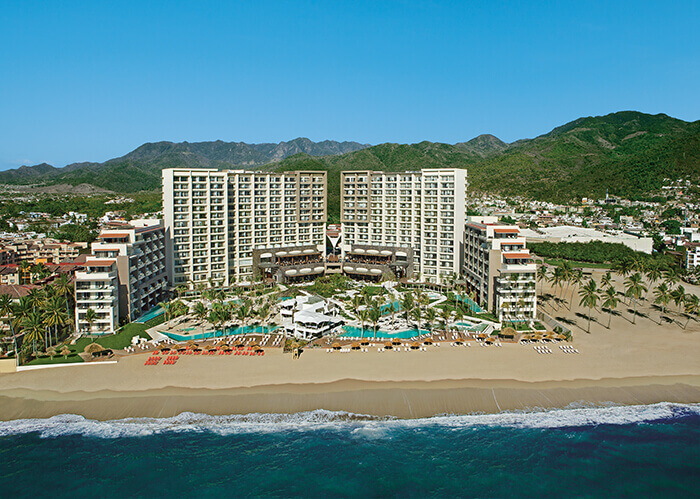 aerial view of the secrets vallarta bay and now amber hotel