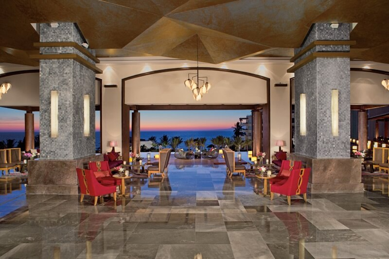 lobby interior with ceramic floor and ocean views
