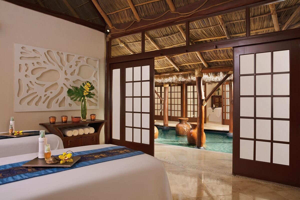 double massage cabin with sliding doors at Reflect Nuevo Vallarta spa