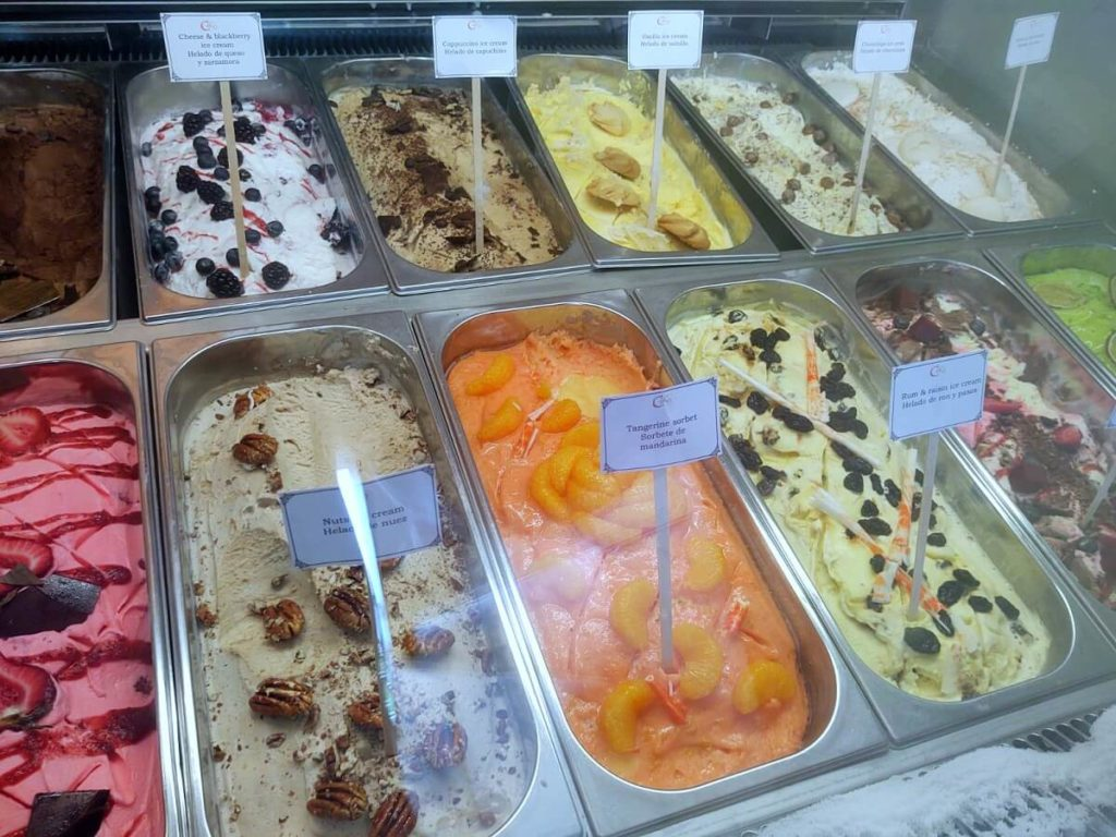ice cream flavors in display at coco cafe