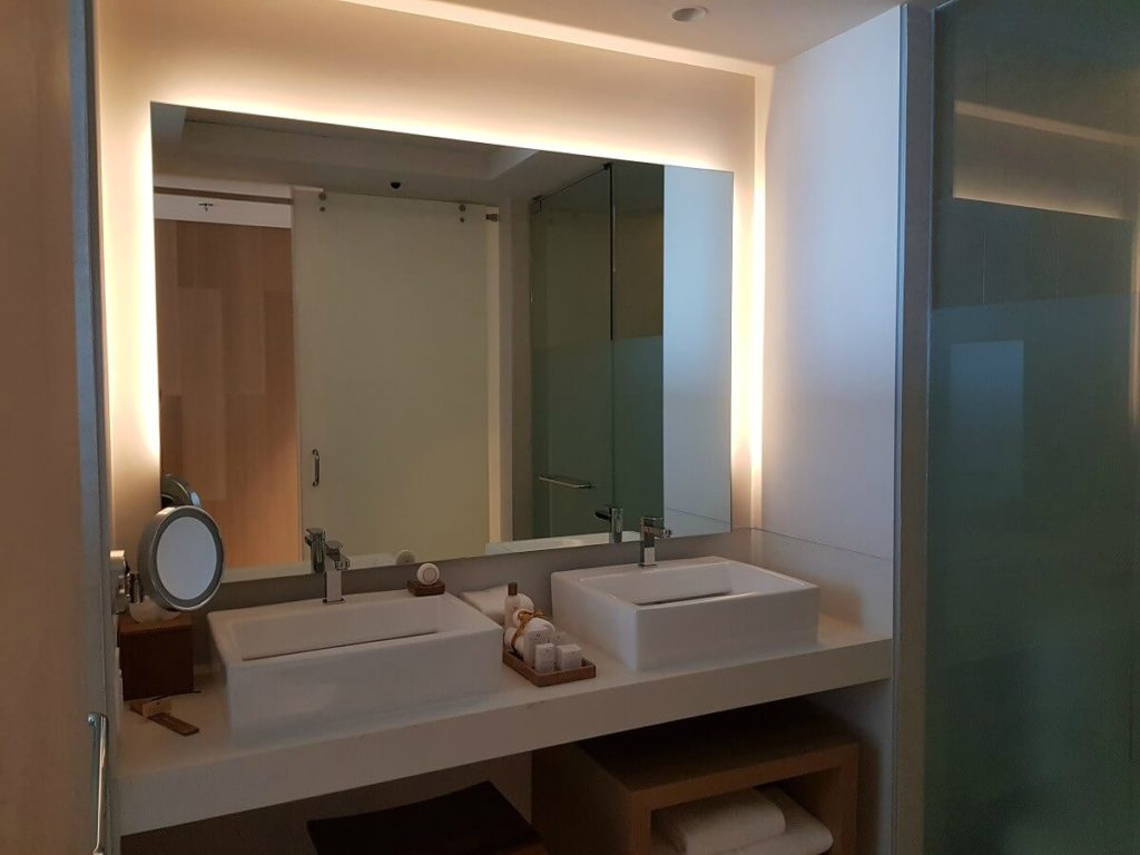 bathroom with double rectangular sinks and large mirror