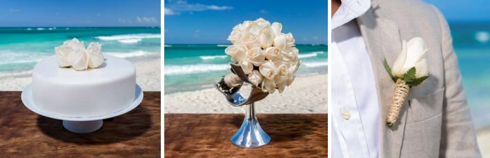 unico weddings include a white wedding cake, white bridal bouquet and white boutonniere