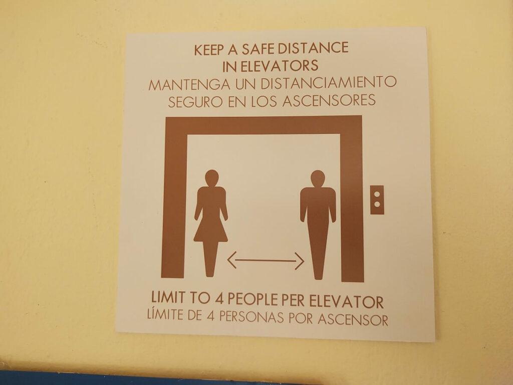 safe distance sign for elevator