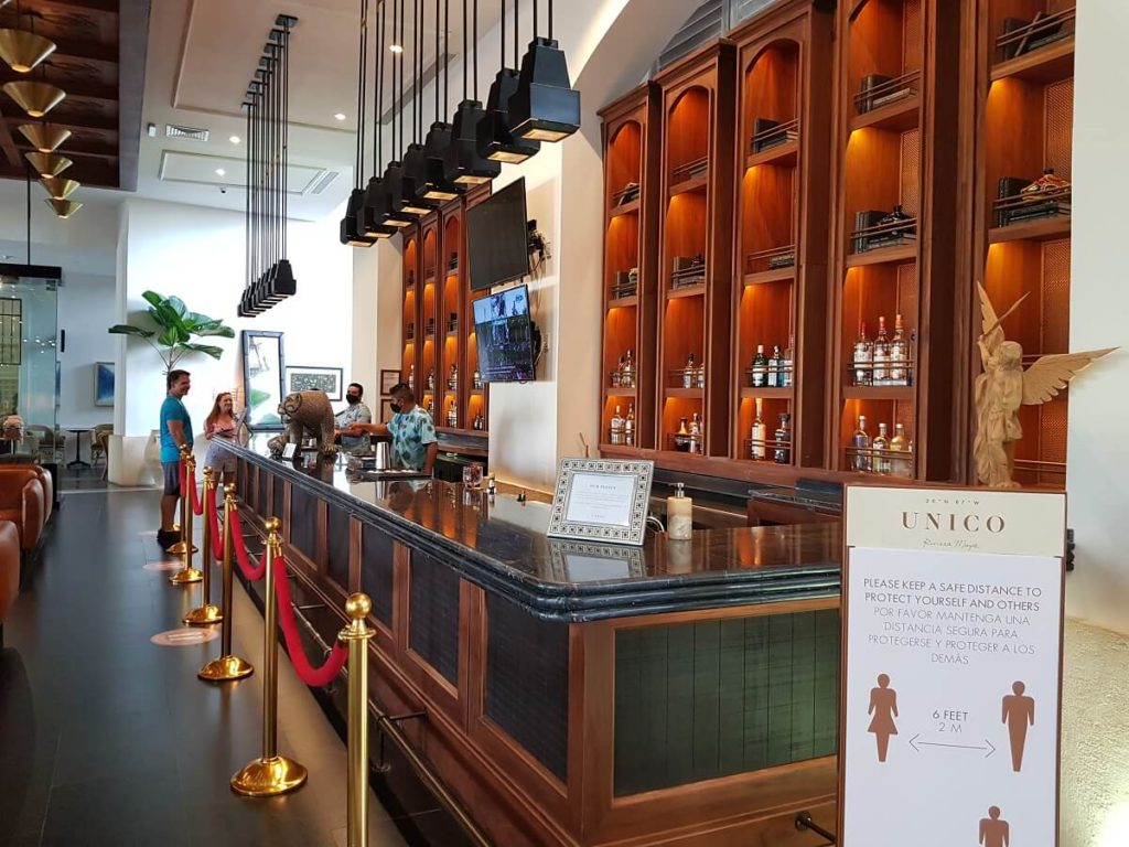 main lobby bar with black and wood accents