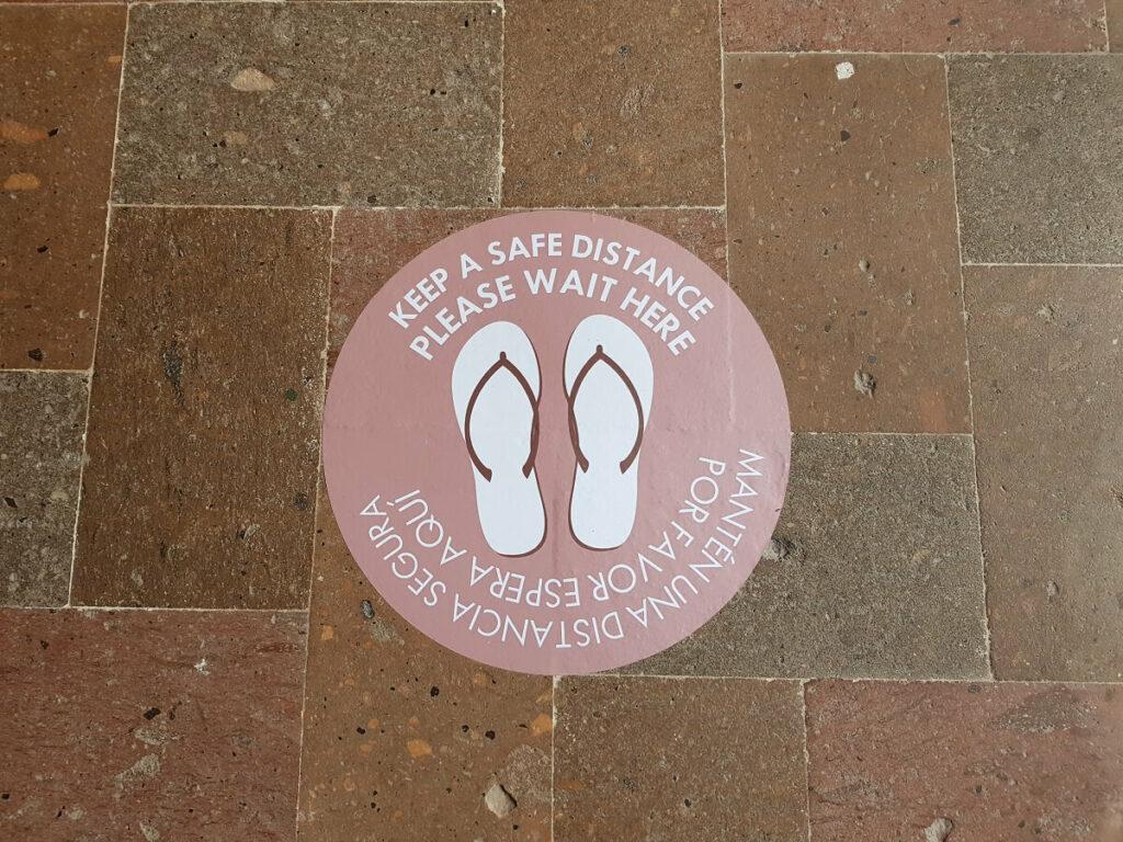 safe distance flip flop floor decal