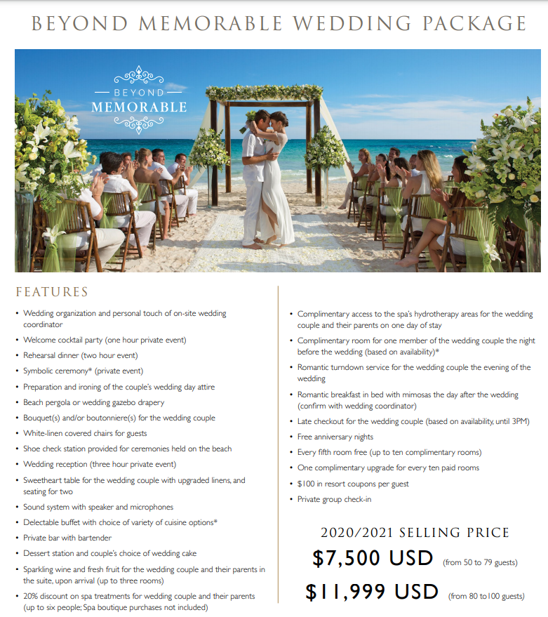 Beyond Memorable wedding package. Number 4 on the top 5 affordable wedding package in Mexico