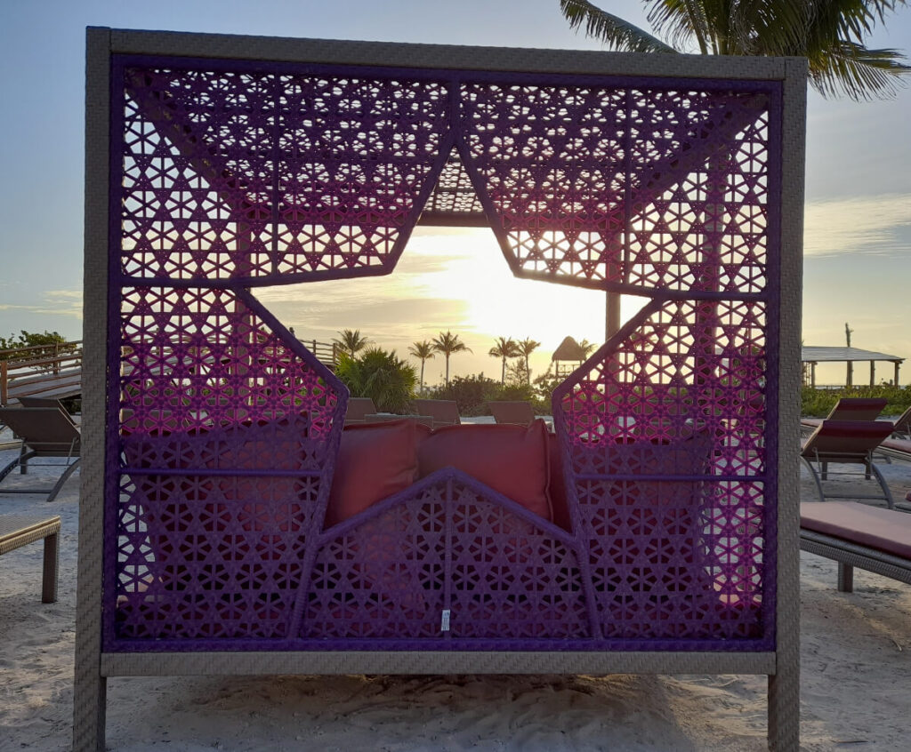 purple star themed beach cabana at planet hollywood cancun