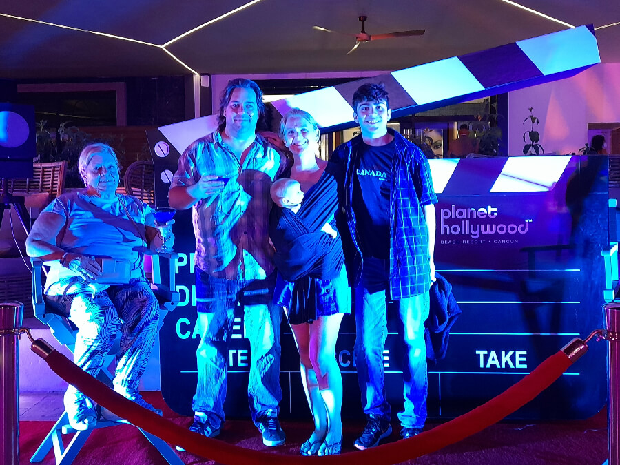 family with teen, baby and grandmother at planet hollywood cancun
