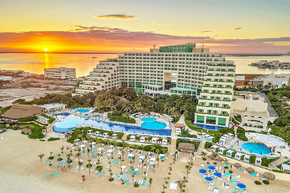 Aerial shot of resort with lagoon views during sunset